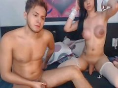 Colombian shemale is playing with her boyfriends cock