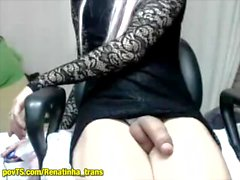 Rena shemale very big dick masturbating