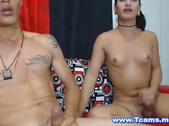 Titty Licking and Cock Sucking Action By Tranny and Guy