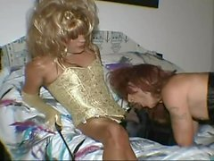 CD slave sucks and gets fucked by tranny mistress