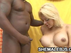 Giselle Lemos - Shemale Mouth Filled WIth Big Black Cock