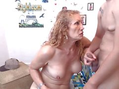 Mature shemale and young man jerk and blow online