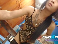 Evelin Love on Flirt4Free Transgender - Hispanic Tgirl Licks Her Own Cock