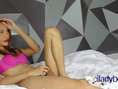 Skinny and Cute Pi Ladyboy masturbating her tiny cock and cum