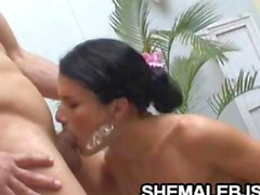 Skinny Shemale Fernandinha Sloppy Poolside Blowjob