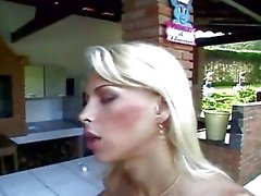 Slim Tgirl stuffing naughty guy on the veranda