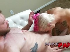 Pink Haired Trans Slut Rebel Fucks Mike in his Ass