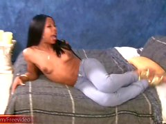 Ebony shemale with big shecock strips down and gives handjob