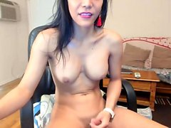 Busty shemale amateur deepthroating tranny cock
