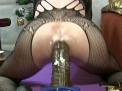 Christmas fuck 3, crazy riding a transsexual on a huge dildo