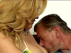 Sexy blonde tranny Gianna Rivera analyzed by three horny men