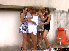 Tranny chicks in bikini get naked and suck hard shedicks
