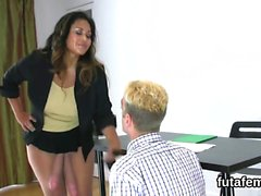 Girls drill fellows asshole with enormous strap-on dildos an