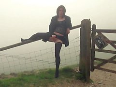 emmaleetv002 - Tranny Flashing in the Fog Wearing Stockings