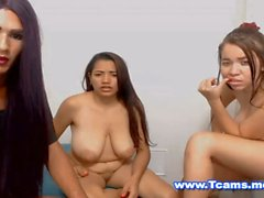 Just Two Hot Babes Teasing and a Tranny