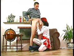 Slutty redhead maid banged well