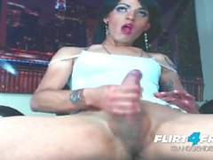 Sexy Flirt4Free Transgender Linda Ashley Dresses Up Then Shoots a Big Load