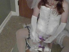 Crossdresser Bride with Vibrator