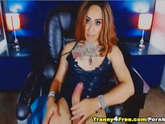 Hot Tranny Stroking her Massive Hard Dick