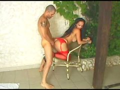 Tranny in red stockings doggystyled