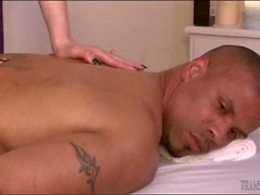 Skinny shemale analed on massage table