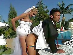 Wedding sex poolside