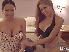 Blonde and Brunette Ladyboys in Hotel Room