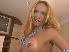 Big boobed tranny Carla B jerking off