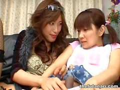 Chick in fishnets makes out with Japanese dickgirl