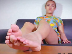 Foot worshipping ladyboy playing solo footsie