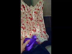Cumming on Flowery Satin nightie