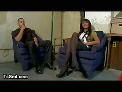 Busty tanned tranny pounds guy in office
