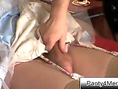 Crossdressing sissy gets handjob during roleplay