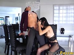 Cute tranny Lana Davalos receives a massive cock in her ass