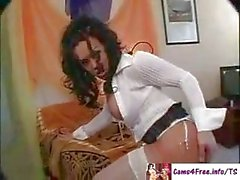 Shemale Amazing Black Tranny Jerks And Cums Hard!