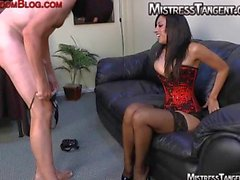 Mistress Tangent anal stretch sissy face sitting on male slave