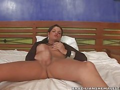 Natasha Rusthy jacks off in bed