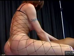 Tranny in fishnet body suit fucks with guy