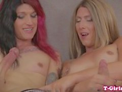 Tattooed natural tgirl jerks and creams