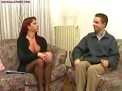 Redhead shemale nailed by stud prick