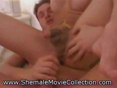 Hot Shemale Catches Cum!