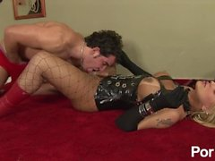 Trans mistress dominates and fucks delivery boy