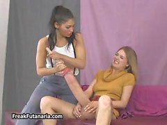 Hot teen babe gets her giant cock part1